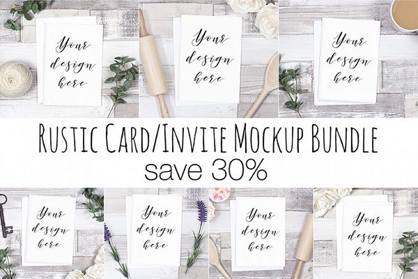 Rustic Card Mockup Bundle